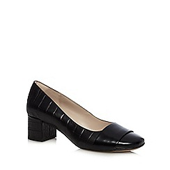 Clarks - Black 'Chinaberry Sky' leather croc-effect mid heeled shoes