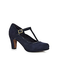 Clarks - Navy T-bar court mid heel shoes