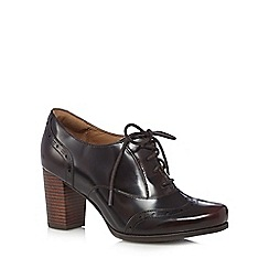 Clarks - Dark red leather 'Ciera Brine' high block heel lace-up shoes
