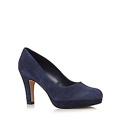Clarks - Navy 'Crisp Kendra' suede high court shoes