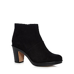 Clarks - Black suede ankle high heel boots