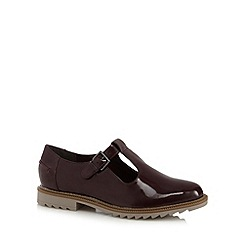 Clarks - Wine 'Griffin Monty' leather cut out flat shoes