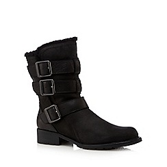 Clarks - Black Clarks 'Orinoco Bloom' leather calf-length boots