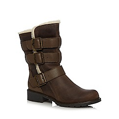 Clarks - Brown 'Orinoco Bloom' leather fleece lined boots