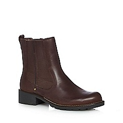 Clarks - Dark red leather mid block heel Chelsea boots