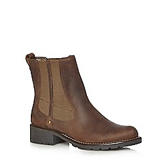 Clarks - Brown 'Orinoco Club' leather mid heeled Chelsea boots