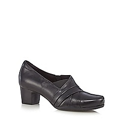 Clarks - Black 'Rosalyn Adele' leather elasticated mid heeled court shoes