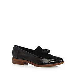 Clarks - Black patent 'Taylor Spring' flat loafer shoes