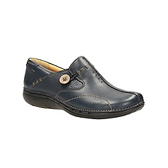 Clarks - Navy leather mid wedge heel slip on shoes