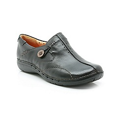 Clarks - Black Leather Un Loop Slip On Shoe