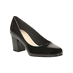 Clarks - Black patent aldwych park heeled court shoe