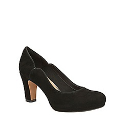 Clarks - Black suede chorus nights slip-on court shoe