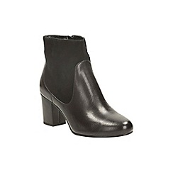 Clarks - Black leather aldwych wood heeled boot