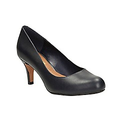 Clarks - Navy leather arista abe heeled court shoe