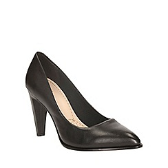 Clarks - Black leather azizi poppy heeled court shoe