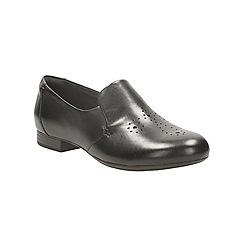 Clarks - Black leather 'bayham rae' slip on shoe