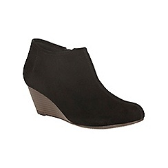 Clarks - Black suede brielle abby wedge heeled ankle boot