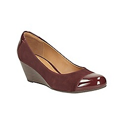 Clarks - Burgundy combination suede wedge shoe