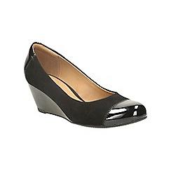 Clarks - Black combination suede wedge shoe