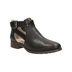 Clarks - Black leather 'busby fresh' heeled cut out ankle boot