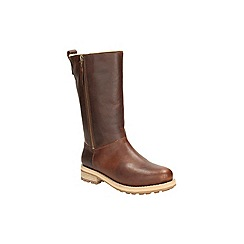 Clarks - Dark tan leather 'cabin spa' mid calf warmlined boot