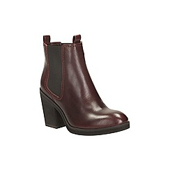 Clarks - Burgundy leather 'clementine sun' heeled chelsea boot