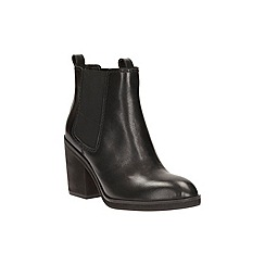Clarks - Black leather 'clementine sun' heeled chelsea boot