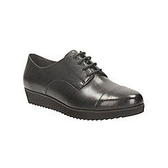 Clarks - Black leather compass fayre lace up platform shoe
