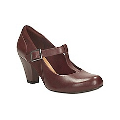 Clarks - Burgundy leather coolest lass t-bar shoe
