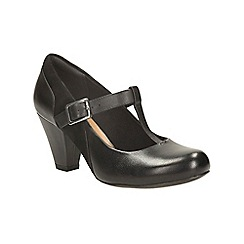 Clarks - Black leather coolest lass t-bar shoe