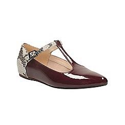 Clarks - Burgundy patent coral garden t-bar flat shoe