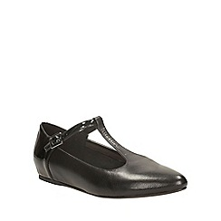 Clarks - Black leather coral garden t-bar flat shoe