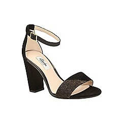 Clarks - Black suede curtain lace heeled ankle strap sandal