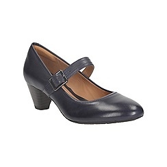 Clarks - Navy leather 'denny date' mid heel mary jane