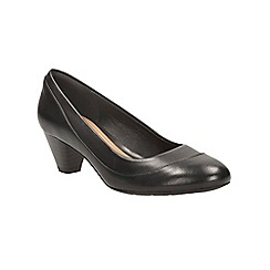 Clarks - Black leather denny harbour court shoe