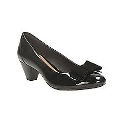 Clarks - Black patent 'denny raffle' mid heel court shoe