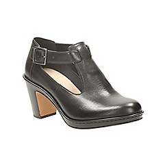 Clarks - Black leather dulcie lily heeled platfrom shoes with cut outs