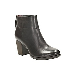 Clarks - Black leather 'enfield tess' heeled zip fastening ankle boot