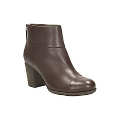 Clarks - Brown leather 'enfield tess' heeled zip fastening ankle boot