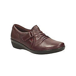 Clarks - Burgundy leather everlay coda flat trouser shoe