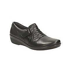 Clarks - Black leather everlay coda flat trouser shoe