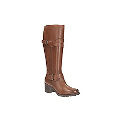 Clarks - Rust leather 'fernwood oasis' mid calf biker boot