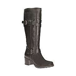Clarks - Black leather 'fernwood oasis' mid calf biker boot