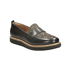 Clarks - Black interest leather glick avalee slip on platform