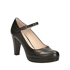 Clarks - Black combi leather kendra dime heeled mary jane court shoe