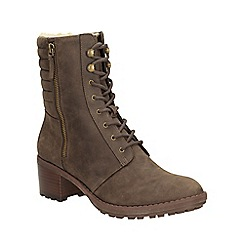 Clarks - Taupe suede 'maroda spritz' heeled lace up ankle boot