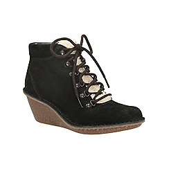 Clarks - Black suede 'marsden grace' wedge heeled ankle boot