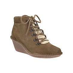 Clarks - Khaki suede 'marsden grace' wedge heeled ankle boot