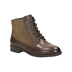 Clarks - Dark brown 'mint chai gtx' lace up gortex ankle boot