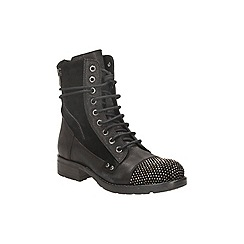 Clarks - Black leather 'moscow dime' lace up ankle boot with encrusted toe cap